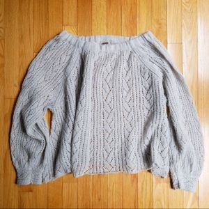 Free people peasant style pale blue knit sweater